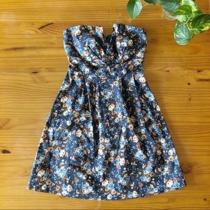 ModCloth Warm Navy Blue Floral Strapless Dress